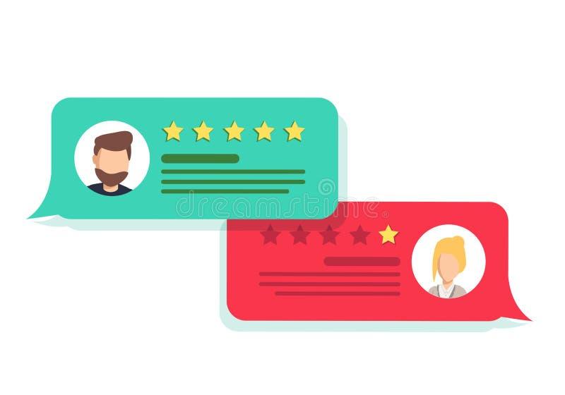 Conceito do feedback de cliente Avaliação sob a forma das estrelas Avaliação negativa ou positiva ilustração stock
