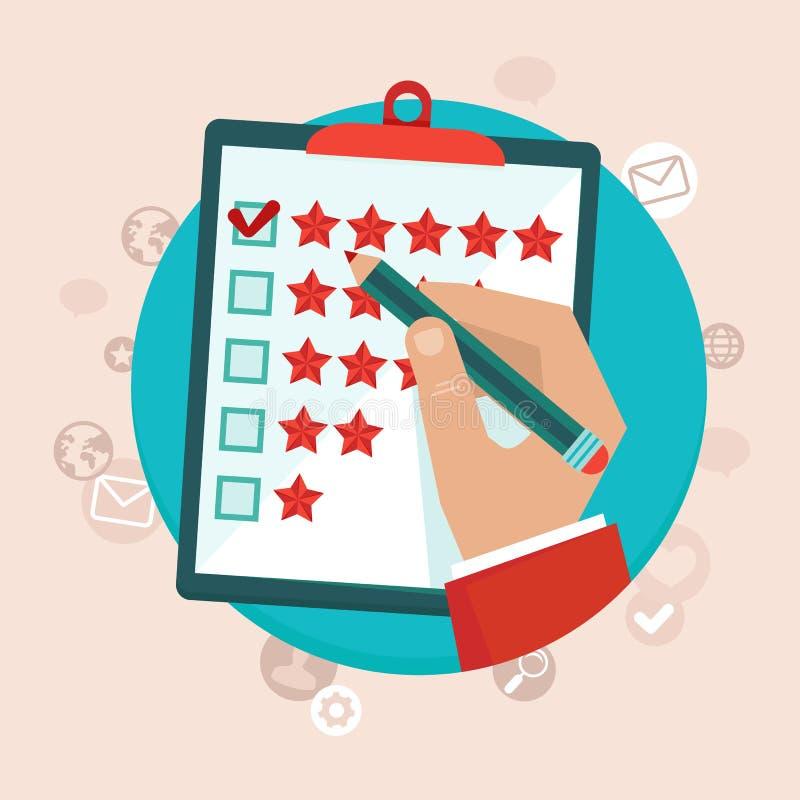 Conceito do feedback de cliente do vetor no estilo liso ilustração royalty free