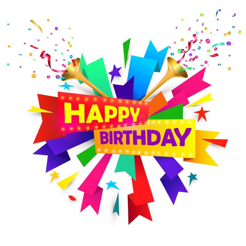 Conceito do feliz aniversario com a trombeta, estamenha musical e os confetes isolados no fundo branco ilustração stock