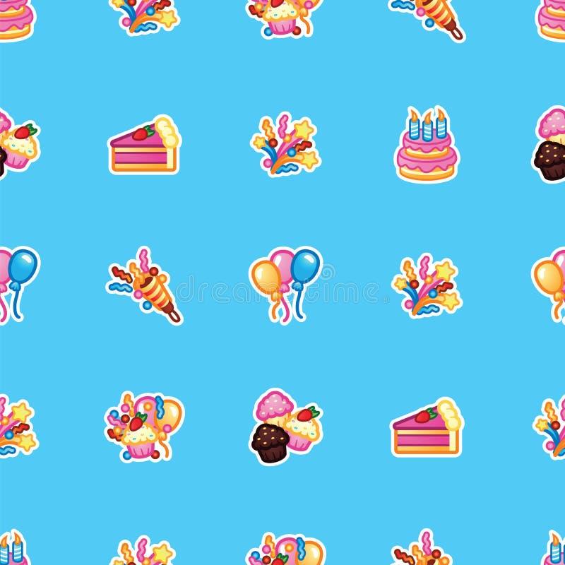 Conceito do feliz aniversario Modele o bolo doce com velas para o partido da celebração, bolo, queques dos confeitos, coloridos ilustração do vetor