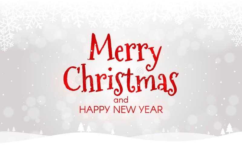 Conceito do Feliz Natal Cartão do ano novo feliz Paisagem do Xmas com neve, bokeh e luzes Molde do inverno para a Web ou ilustração stock