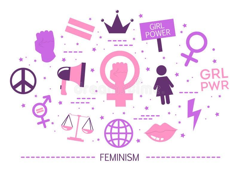 Conceito do feminismo Ideia da igualdade de gênero e do movimento fêmea ilustração royalty free