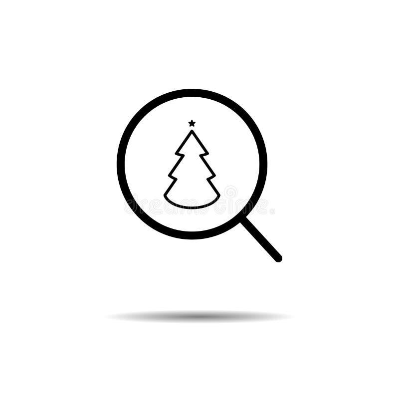 conceito do feriado da busca de encontrar o ano novo, Natal ícone da árvore da lupa e de Natal ilustração do vetor