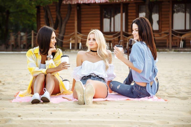 Conceito do festival do partido da praia do verão dos amigos imagem de stock