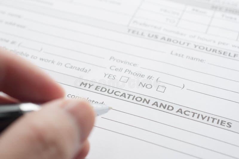 Conceito do formulário de candidatura para aplicar-se para um trabalho imagem de stock royalty free