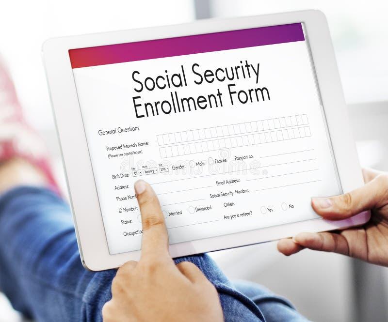 Conceito do formulário do registro da segurança social fotos de stock royalty free