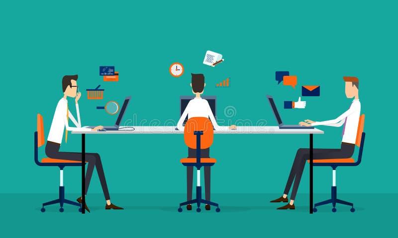 Conceito do funcionamento em linha da equipe do negócio ilustração do vetor