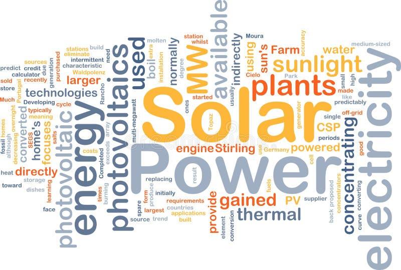 Conceito do fundo da potência solar ilustração do vetor