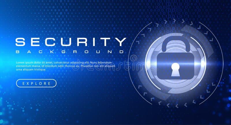 Conceito do fundo da tecnologia de segurança com efeitos da luz abstratos do texto do código binário ilustração royalty free