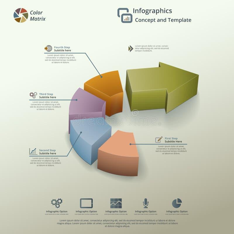 Conceito do fundo de Infographic da carta de torta da seta ilustração royalty free