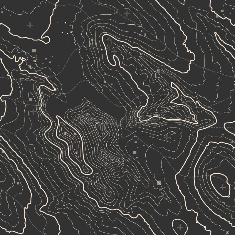Conceito do fundo do mapa topográfico com espaço para sua cópia Linhas contorno da topografia da arte, fuga de caminhada da monta ilustração do vetor