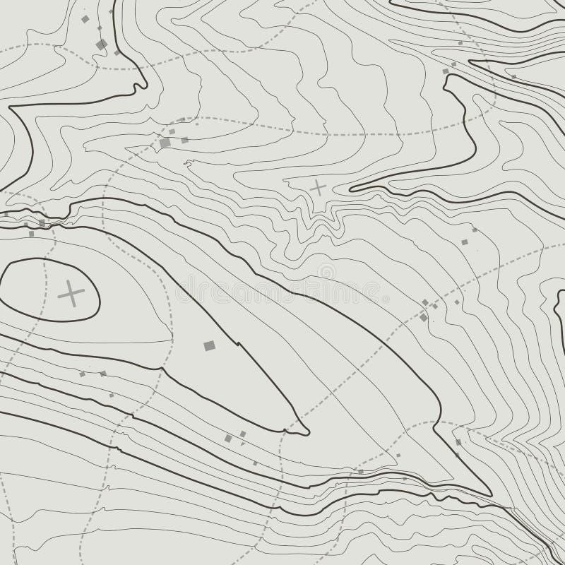Conceito do fundo do mapa topográfico com espaço para sua cópia Linhas contorno da topografia da arte, fuga de caminhada da monta ilustração royalty free