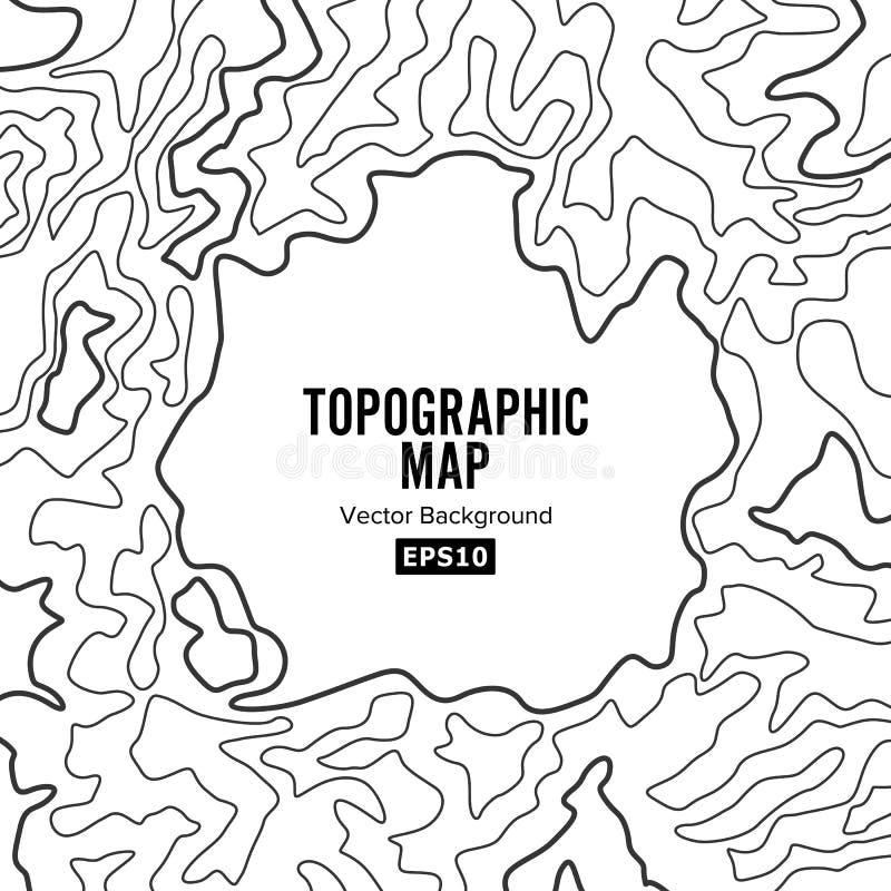Conceito do fundo do mapa topográfico elevação Contorno do Topo Isolado no branco ilustração stock