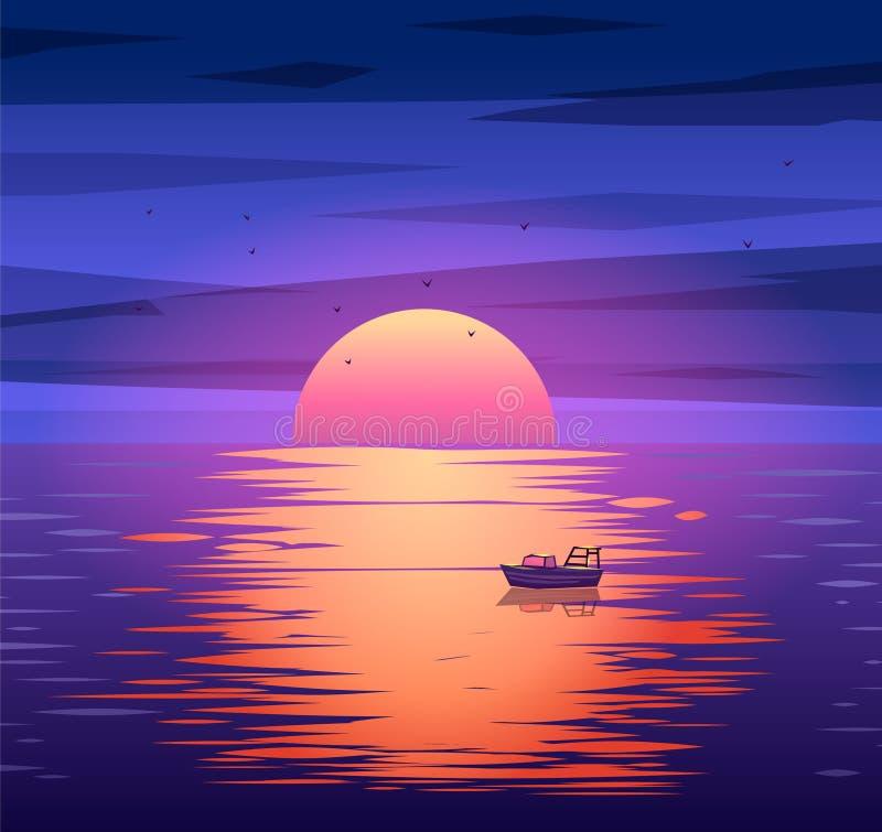 Conceito do fundo do vetor do por do sol do barco de pesca ilustração stock