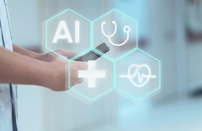 Conceito do fundo médico do AI fotos de stock