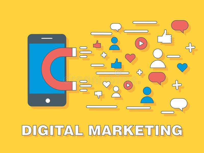 Conceito do fundo do mercado de Digitas com smartphone, ímã e ícones sociais dos meios Ilustração do vetor com os ícones que simb ilustração do vetor