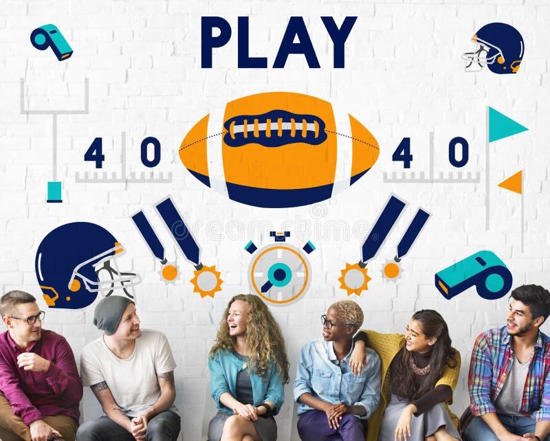 Conceito do futebol americano do rugby do lançador do jogo imagem de stock royalty free