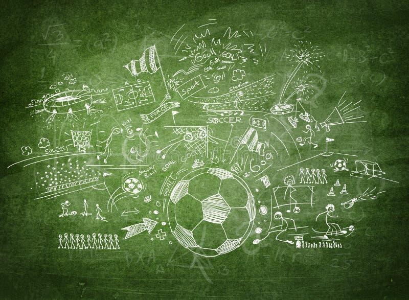 Conceito do futebol do quadro-negro ilustração stock
