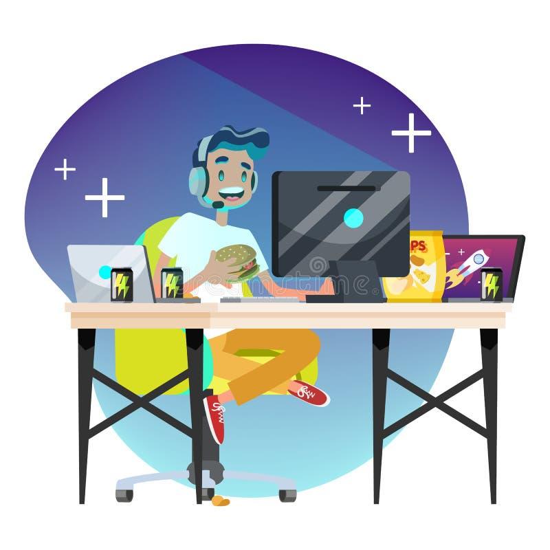 Conceito do gamer do homem Jogo da pessoa no computador ilustração stock