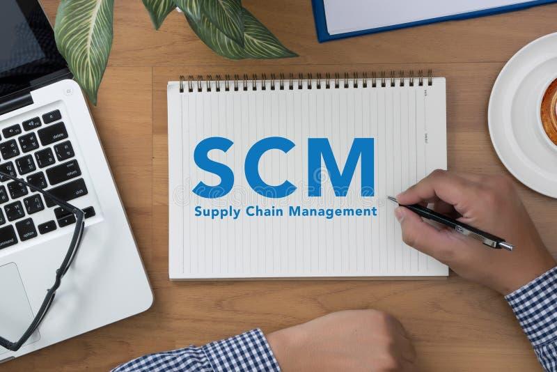 Conceito do gerenciamento da cadeia de suprimentos de SCM fotografia de stock royalty free