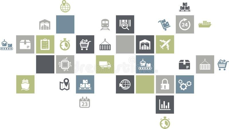 Conceito do gerenciamento da cadeia de suprimentos - ilustração colorida com ícones ilustração royalty free