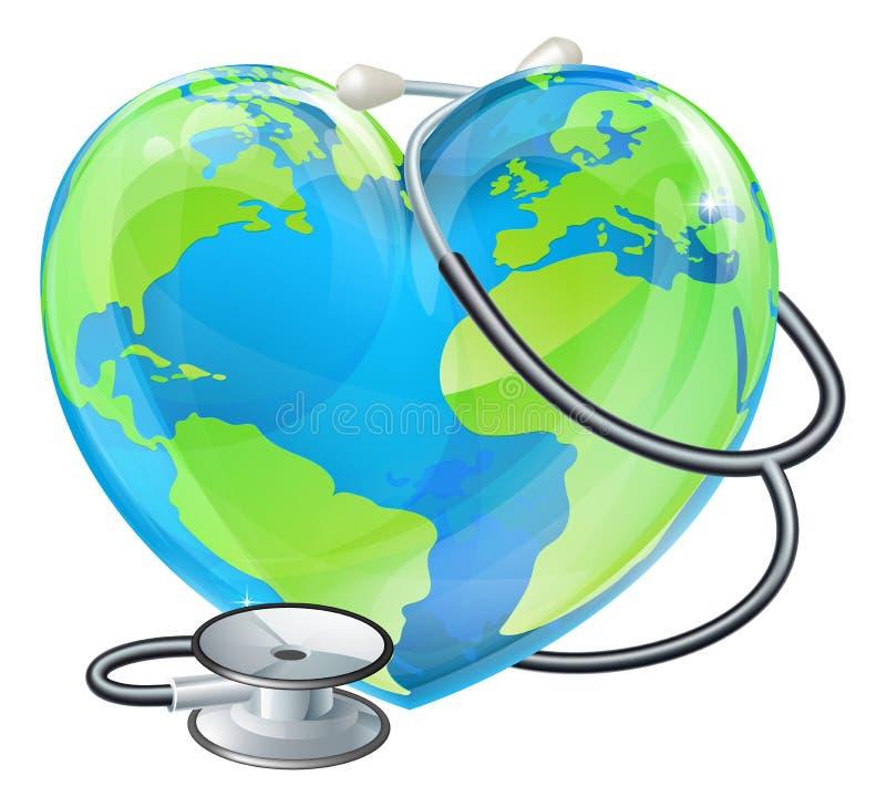 Conceito do globo do estetoscópio da terra do dia de saúde de mundo do coração ilustração stock