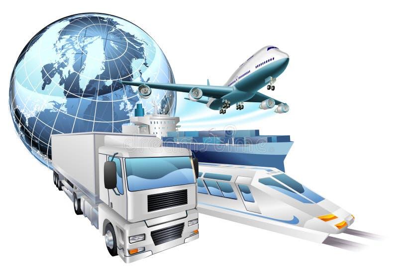 Conceito do globo do transporte de logística ilustração do vetor