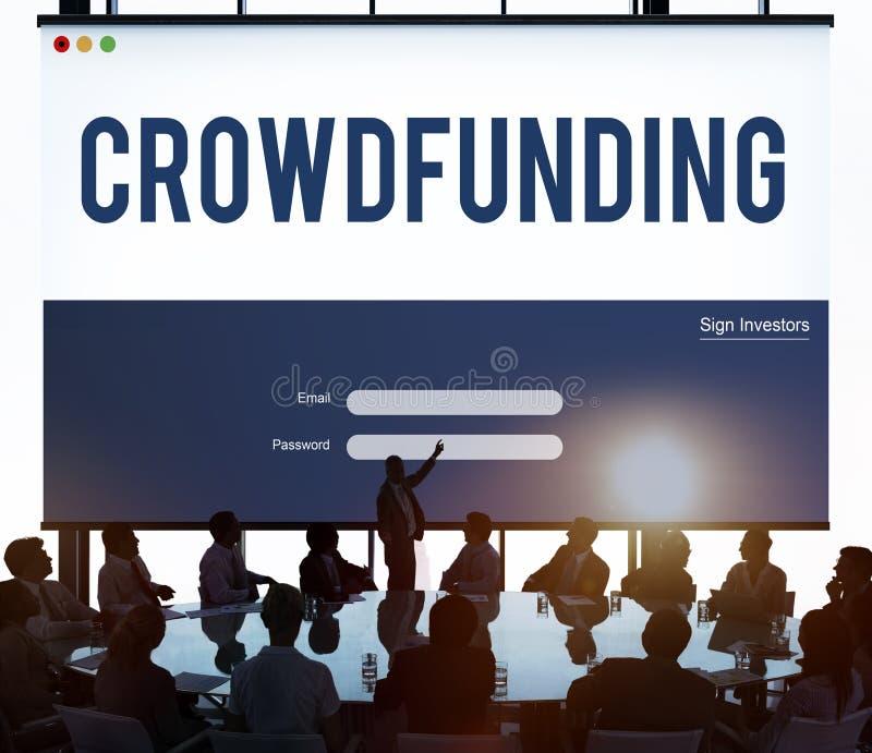 Conceito do gráfico da empresa do dinheiro de Crowdfunding imagem de stock royalty free