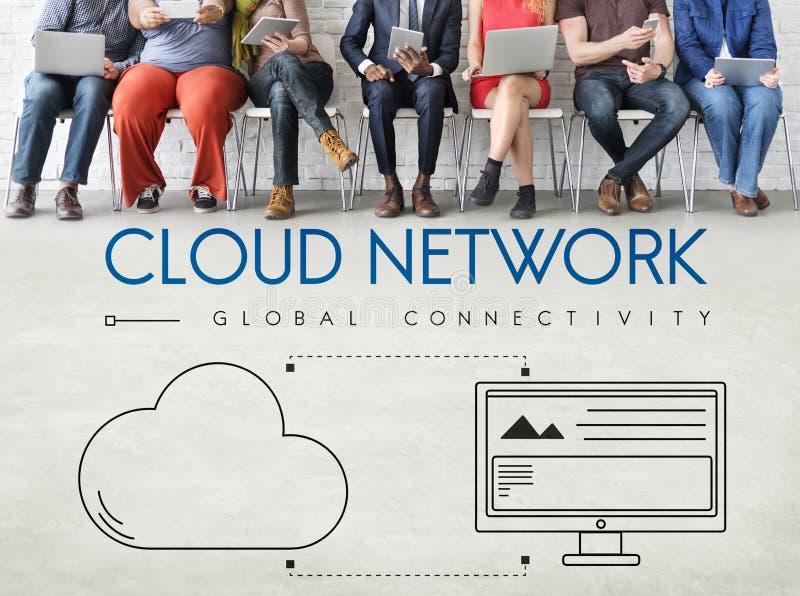 Conceito do gráfico de uma comunicação da conexão de rede da nuvem imagens de stock royalty free