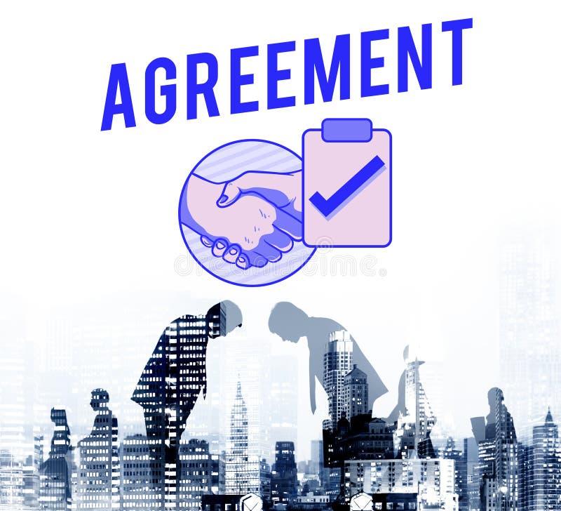 Conceito do gráfico do aperto de mão do negócio do acordo do negócio ilustração stock