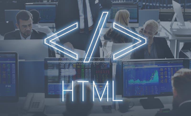 Conceito do gráfico do símbolo do HTML do código de computador imagem de stock