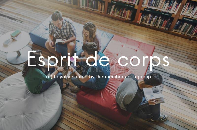 Conceito do gráfico dos povos da lealdade de Esprit De Corpo Grupo imagem de stock