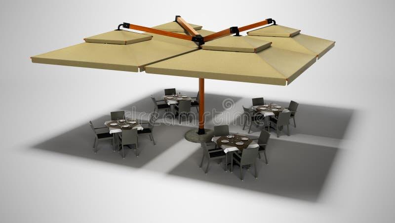 Conceito do guarda-chuva e de tabelas exteriores de praia do restaurante com cadeiras 3d para render no fundo cinzento com sombra ilustração stock