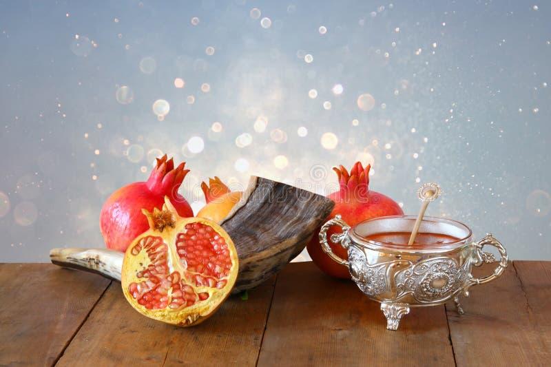 Conceito do hashanah de Rosh (feriado do ano novo do jewesh) Sym tradicional fotografia de stock