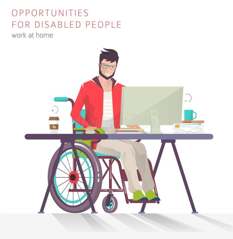 Conceito do homem com as inabilidades que trabalham com computador ilustração royalty free