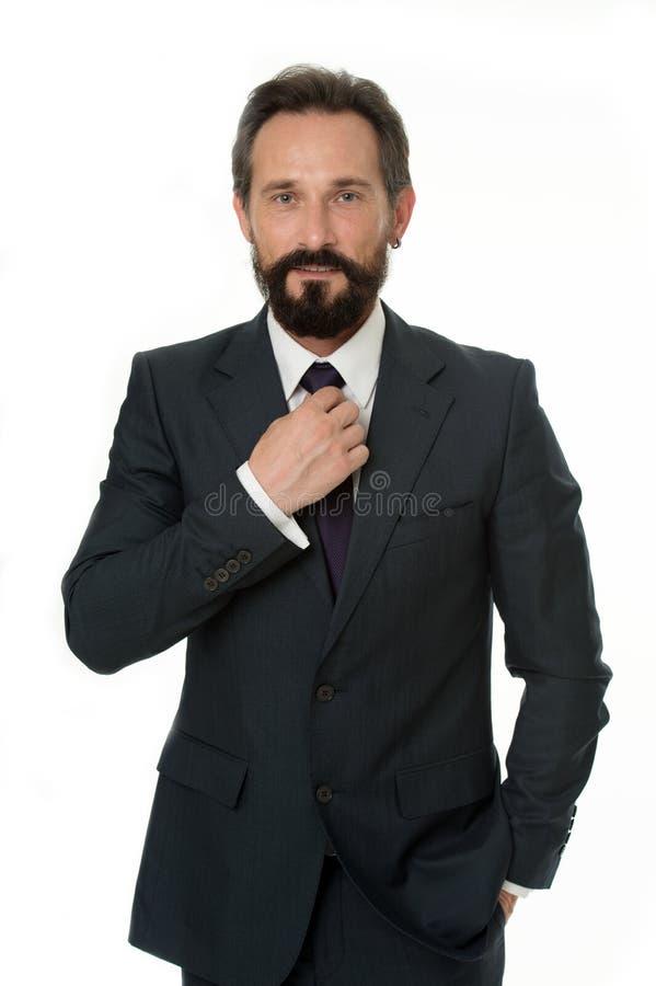 Conceito do homem de negócios Homem de negócios confiável isolado no branco Homem de negócios farpado no vestuário formal Homem d imagens de stock royalty free