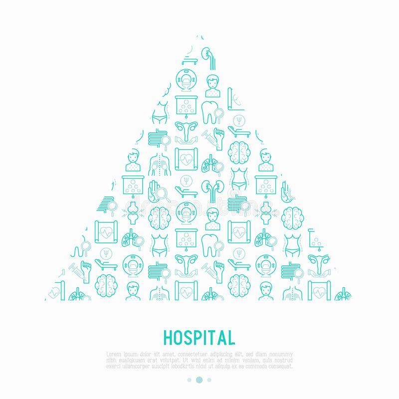 Conceito do hospital no triângulo com linha fina ícones ilustração royalty free