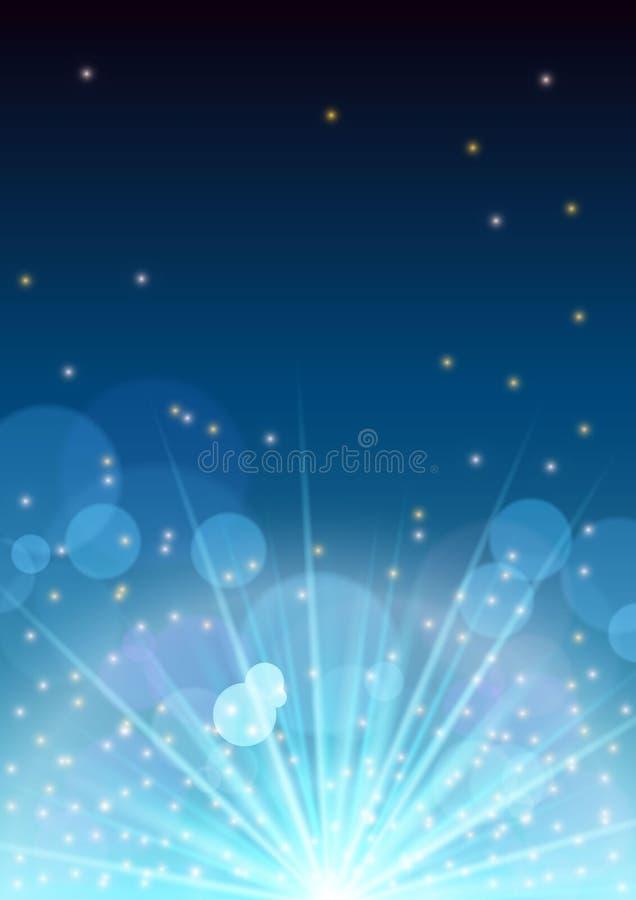 Conceito do inseto da bandeira do ano novo com alargamento do fogo de artifício, estrelas de incandescência, flashes claros, círc ilustração stock