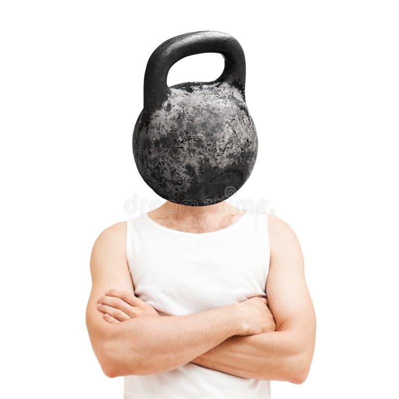 Conceito do intelecto do corpo Homem com peso preto foto de stock royalty free