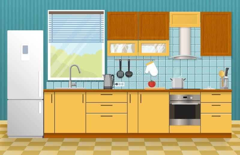 Conceito do interior da cozinha ilustração royalty free