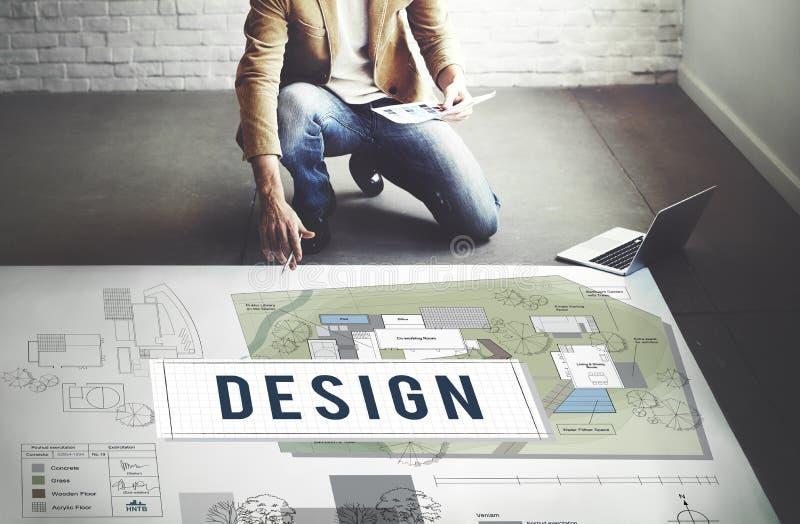 Conceito do interior do modelo da construção de habitações do projeto foto de stock