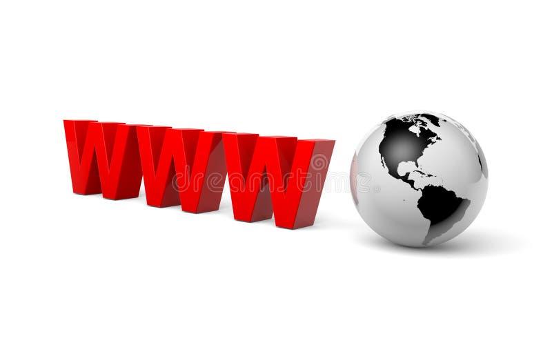 Conceito do Internet da ilustração do mundo 3d de WWW ilustração royalty free