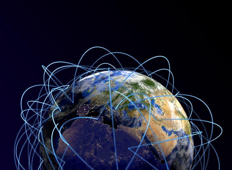 Conceito do Internet do negócio global Rotas de ar principais em Europa, África, Ásia ilustração stock