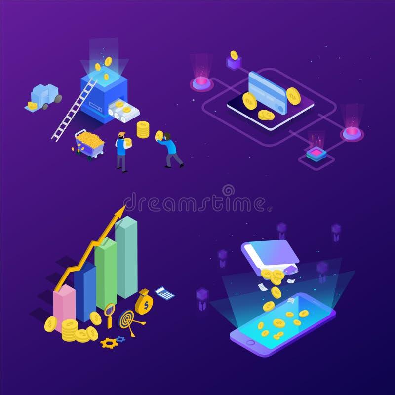 Conceito do investimento da gestão financeira Pode usar-se para a bandeira da Web, infographics, imagens do her?i Vetor isométric ilustração do vetor