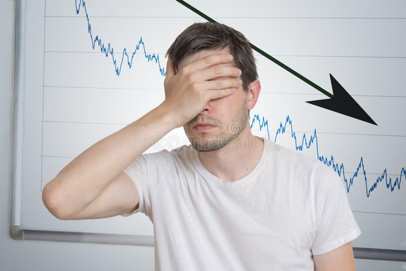 Conceito do investimento mau ou da crise econômica O homem é desapontado da retirada imagens de stock royalty free
