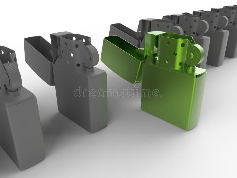 Conceito do isqueiro verde ilustração stock