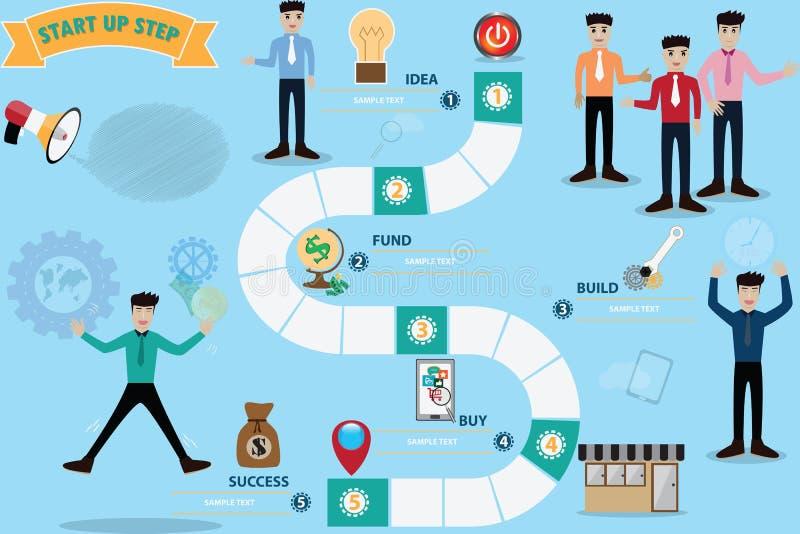 Conceito do jogo de mesa do negócio, etapa infographic a bem sucedido - VE ilustração royalty free
