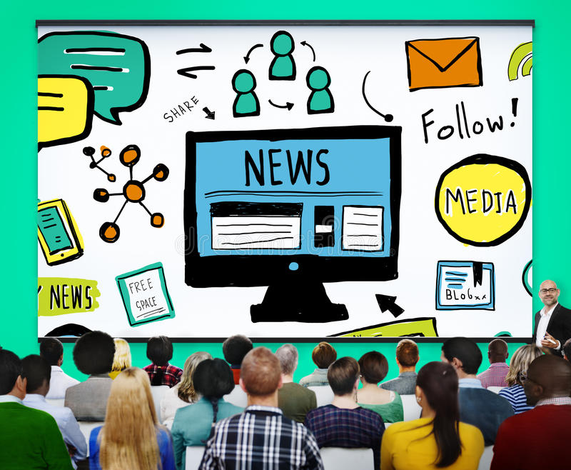 Conceito do jornalismo dos meios da publicação da propaganda do artigo noticioso fotografia de stock