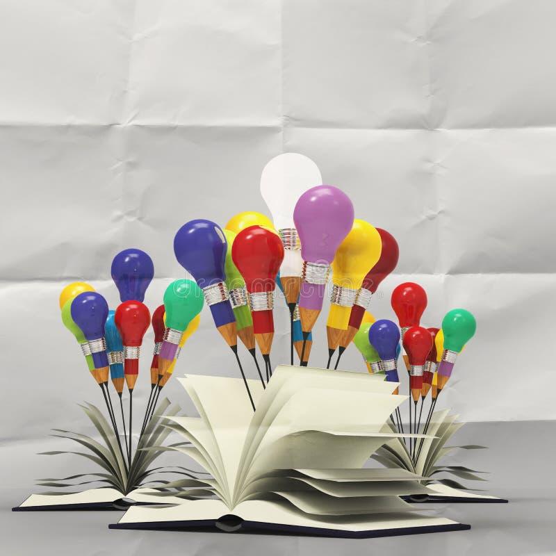 Conceito do lápis da ideia do desenho e da ampola fora do livro ilustração royalty free