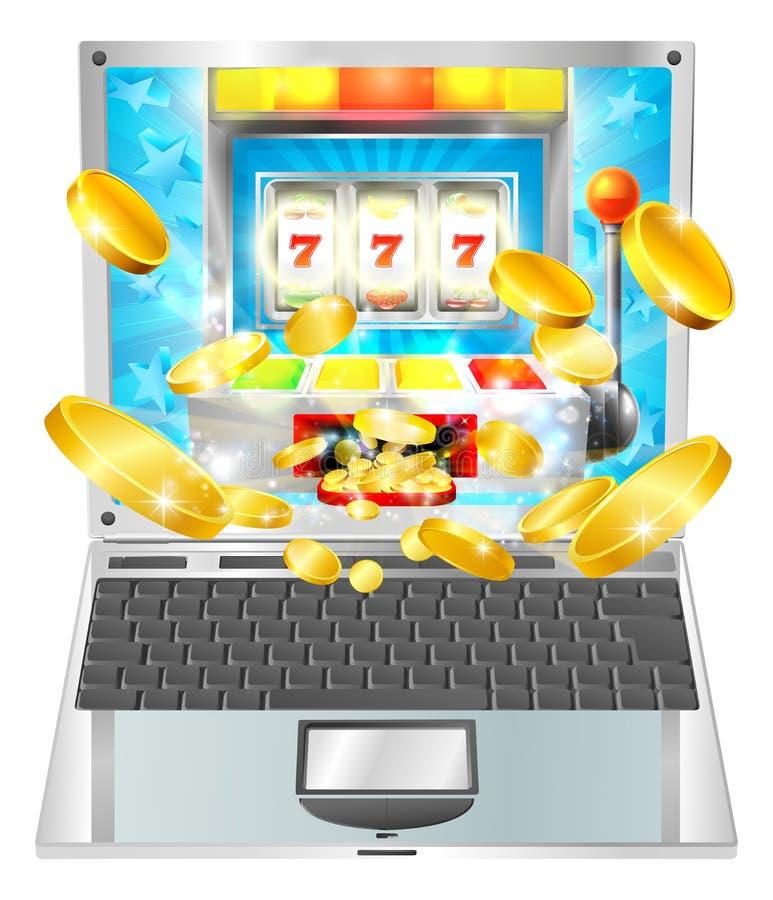 Conceito do laptop do slot machine ilustração stock